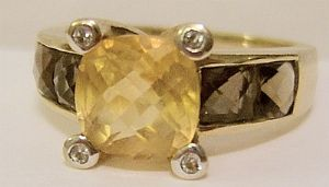 Citrine, Diamonds, Brown Topaz 9ct Hallmarked Gold Ladies Ring with Box - SOLD